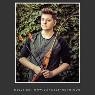 High School Senior Boy with archery gear standing Vancouver Washington_130.jpg