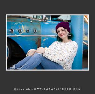 High School Senior Gal sitting by old blue car Urban Vancouver Washington_284.jpg