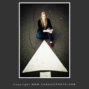 High School Senior Gal sitting on road with white arrow Urban Vancouver Washington _239.jpg