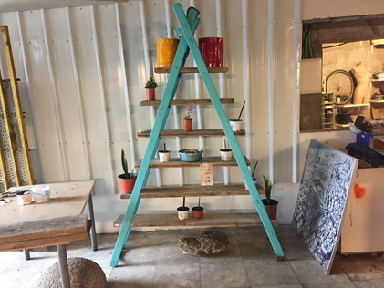 Partition, shelf and ladder