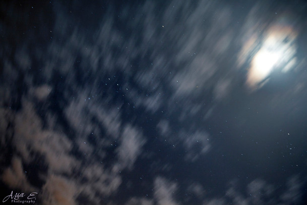 Moon, Clouds & Stars
