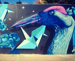 Portion of a mural created for Arts from the Streets in 2018. Collaborative work with members of the