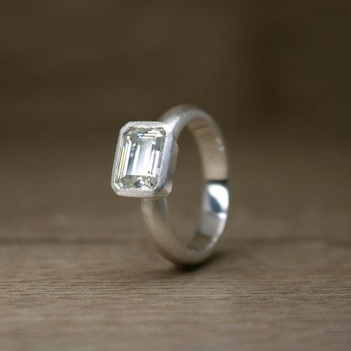 Emerald Cut Moissanite Ring