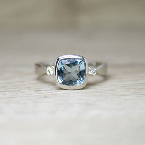 Aquamarine Diamond 18ct Ring