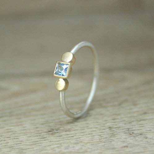 Aquamarine Ring - Silver and Gold Dot