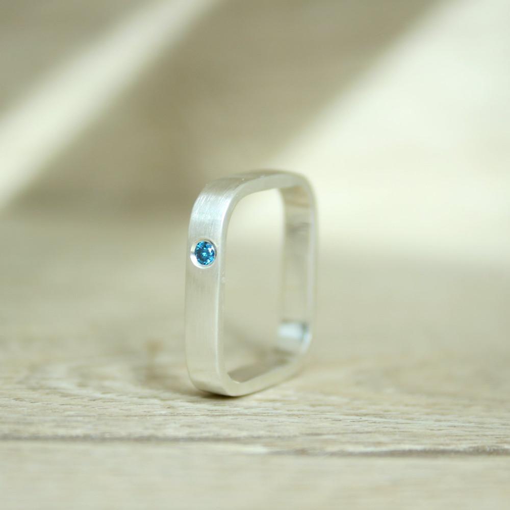 Blue Diamond Square Ring