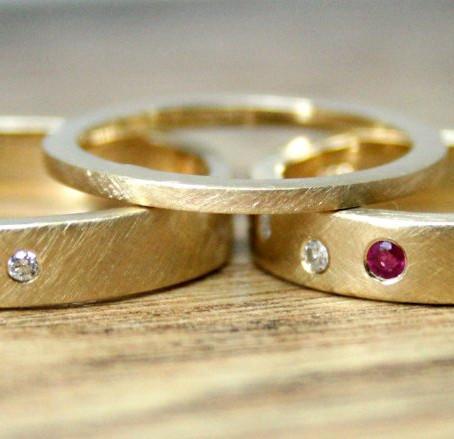 Personalised Diamond, Ruby & Sapphire Wedding Set