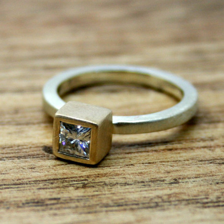 Square Moissanite Simplicity Ring