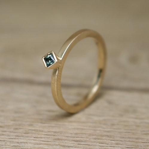 Princess Cut Teal-Green Sapphire Ring