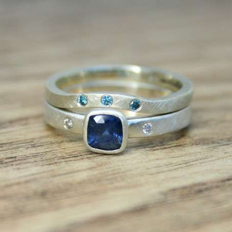Shaped Blue Diamond Ring