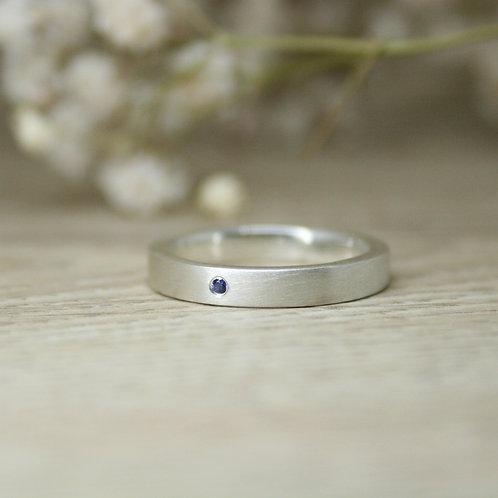 Flush Blue Sapphire Silver Ring
