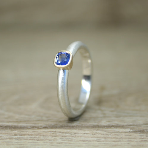 Silver and Gold Cushion Cut Sapphire Ring