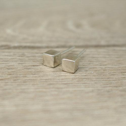 Square Silver Cube Studs