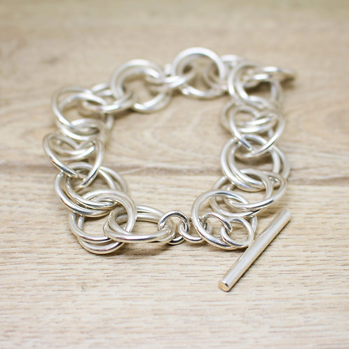 Double Interlocked Chunky Silver Hoop Bracelet