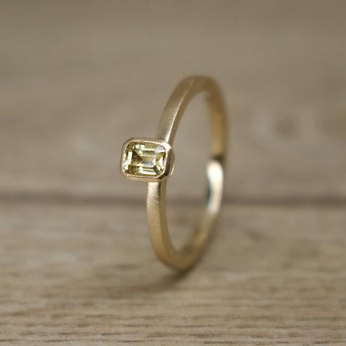 Emerald Cut Yellow Sapphire Ring