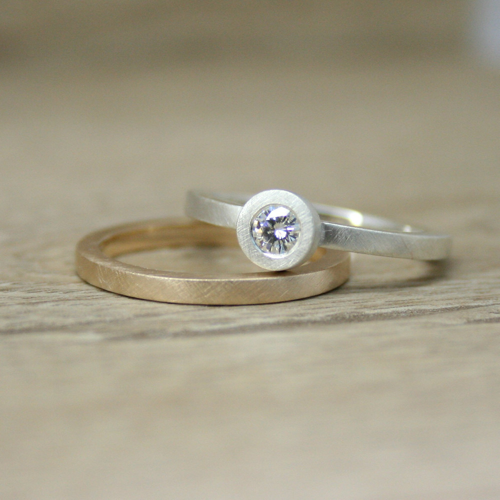 Silver Moissanite Ring with Gold Band