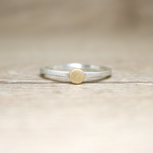 Silver and Gold Skinny Stacking Ring - Large - Simplicity Collection