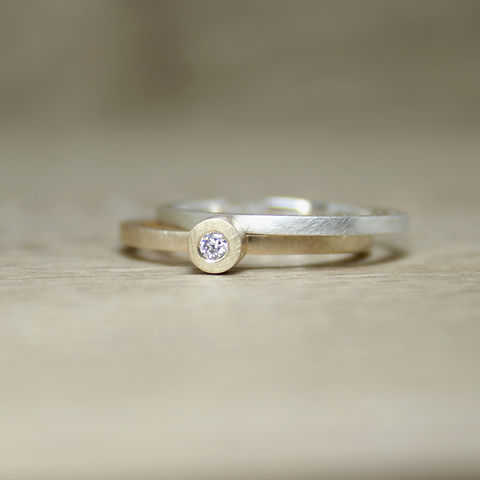 Simplicity Collection Silver and Gold Moissanite Rings