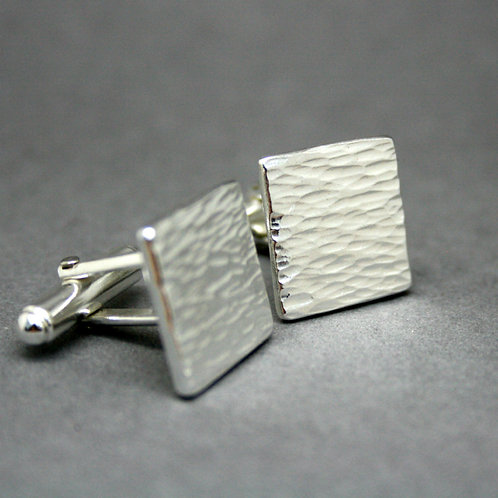 Personalised Bark Textured Silver Cufflinks