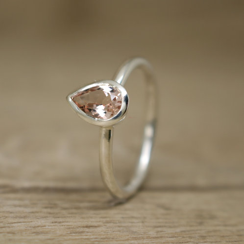 Pear Cut Morganite Silver Ring