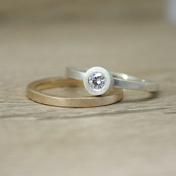 Moissanite Silver Ring - Simplicity Collection
