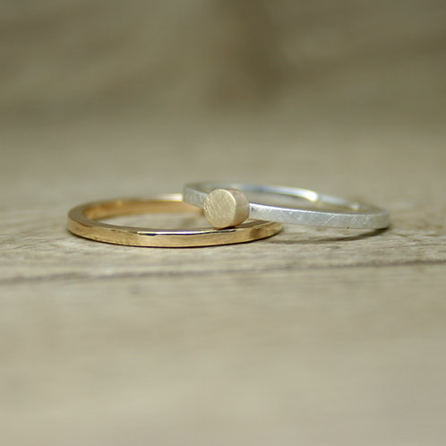 Silver and Gold Skinny Stacking Ring - Medium - Simplicity Collection