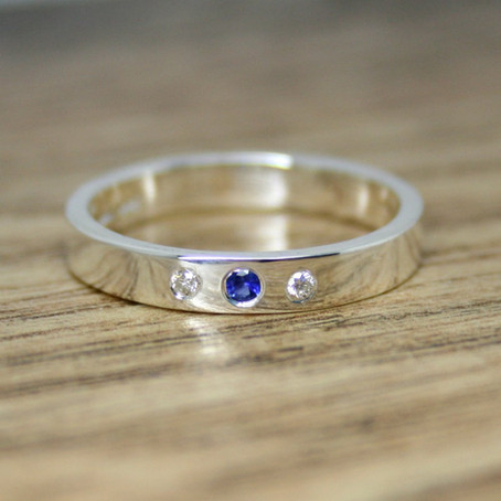 Diamond & Sapphire Silver Ring