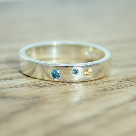 Yellow Sapphire & Blue Diamond Ring