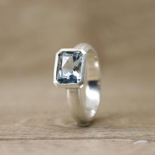 Emerald Cut Sky Blue Topaz Ring