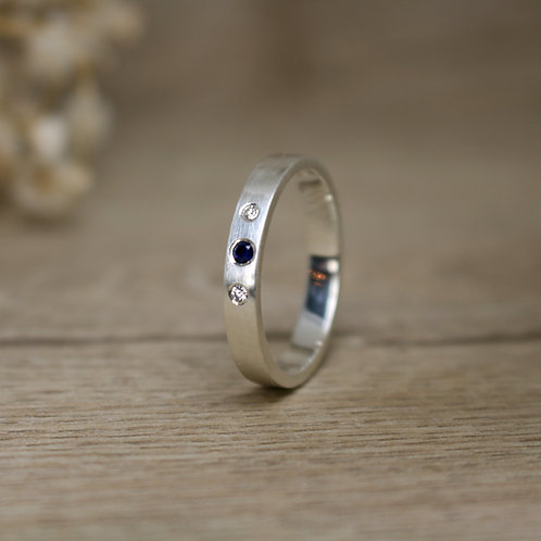 Sapphire and Diamond Silver Ring