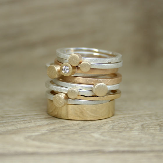 Stack of gold rings, Simplicity Collection, Victoria Jarman 2020