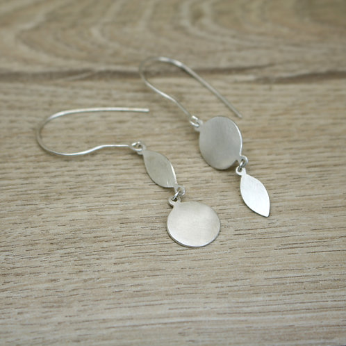 Circles and Leaves - Dangly Silver Mismatched Earrings
