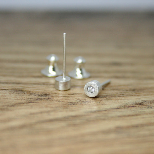 Silver Moissanite Earrings - Simplicity Collection
