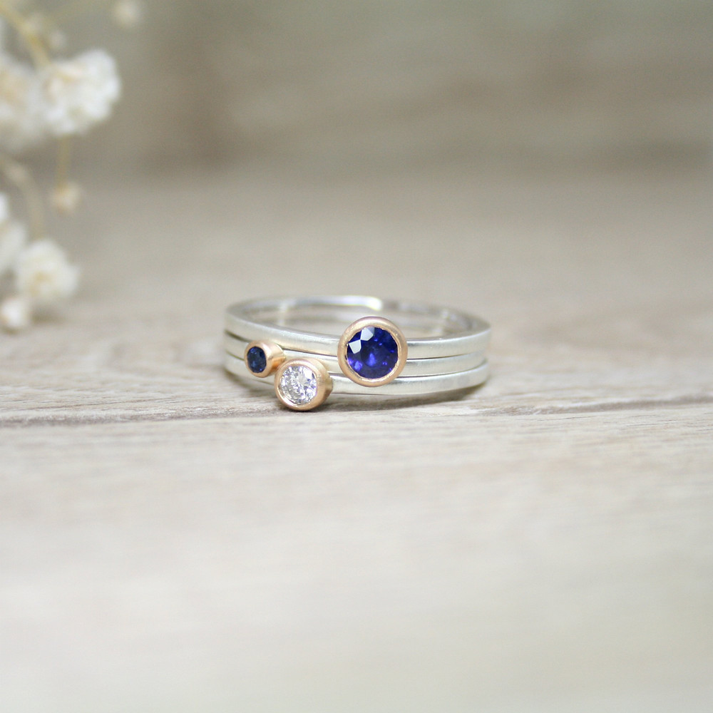 Sapphire and Diamond Remodelled Rings