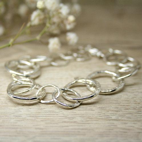 Textured Silver Hoop Bracelet
