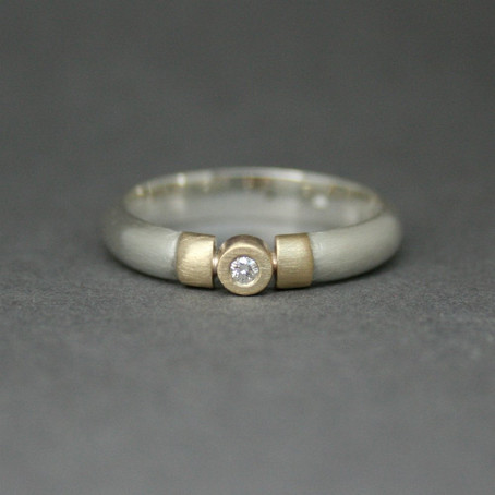 Commission: Silver & Gold Diamond Ring