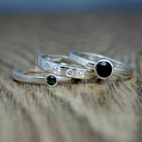 Diamond, Tourmaline & Sapphire Rings
