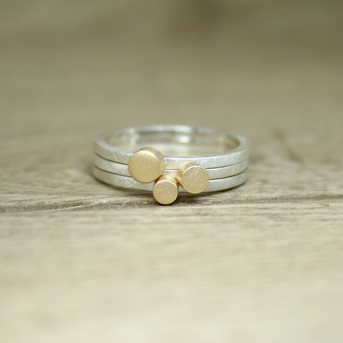 Set of Silver and Gold Skinny Stacking Rings - Simplicity Collection