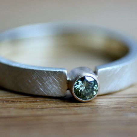 Green Diamond Gold Engagement Ring