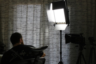 Behind the scenes photo of a documentary about O. Canatan's career