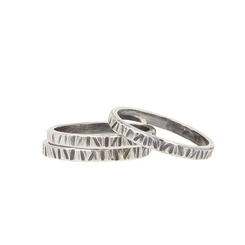 Buried Silver Stacking Rings