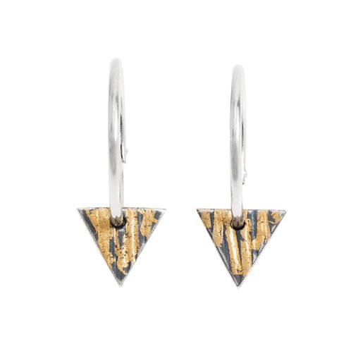 Buried Gold Triangle Hoops