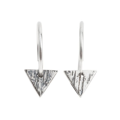 Buried Silver Triangle Hoops