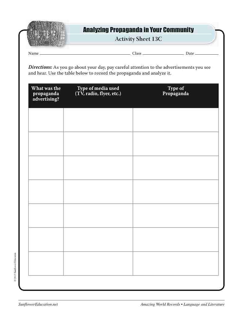 worksheet Identifying Propaganda Worksheet sunflower education lesson plans for teachers and homeschool worlds oldest propaganda sumerian list of worksheets