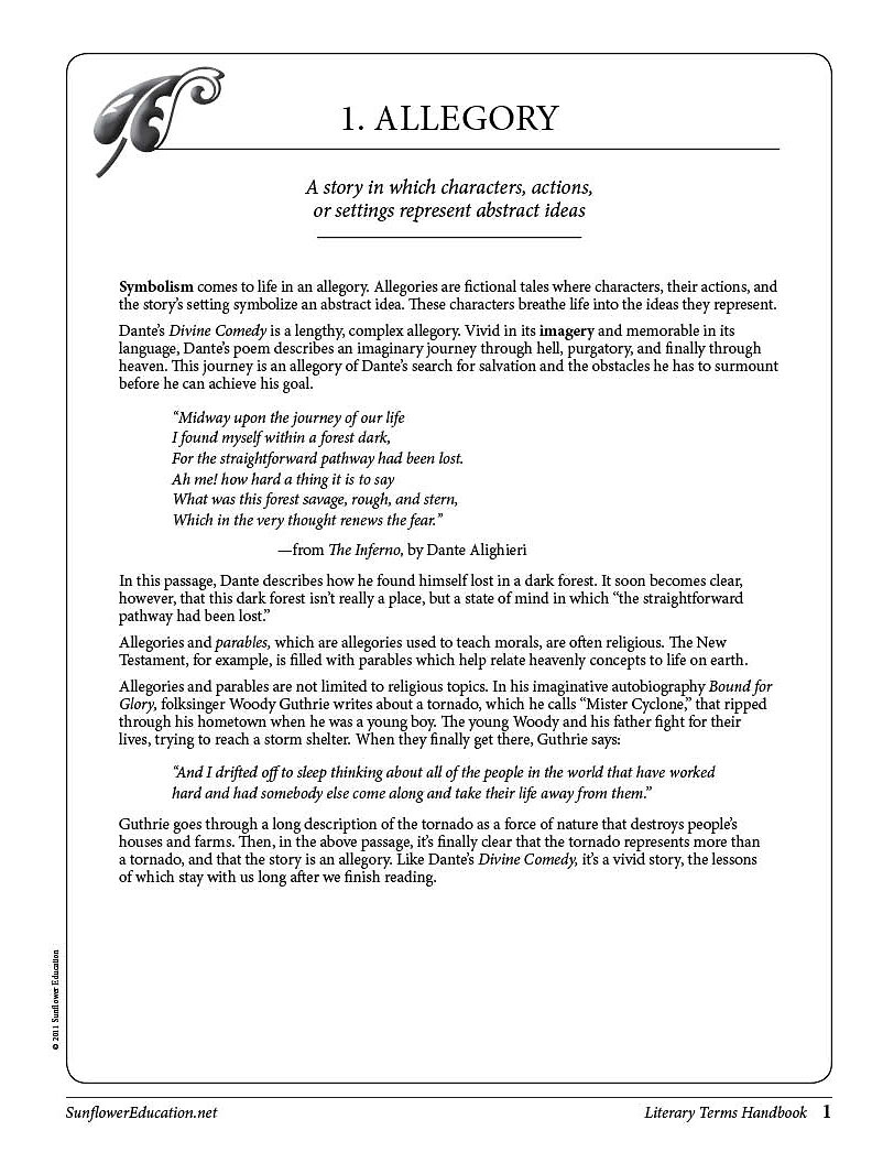 The Literary Terms Handbook A Source Of Definitions Examples And
