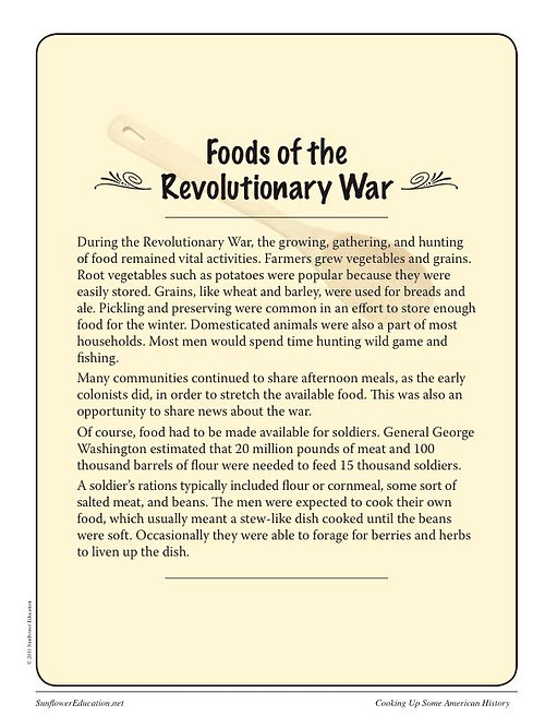 Sunflower education lesson plans for teachers and homeschool cooking up some american history revolutionary war recipes forumfinder Choice Image