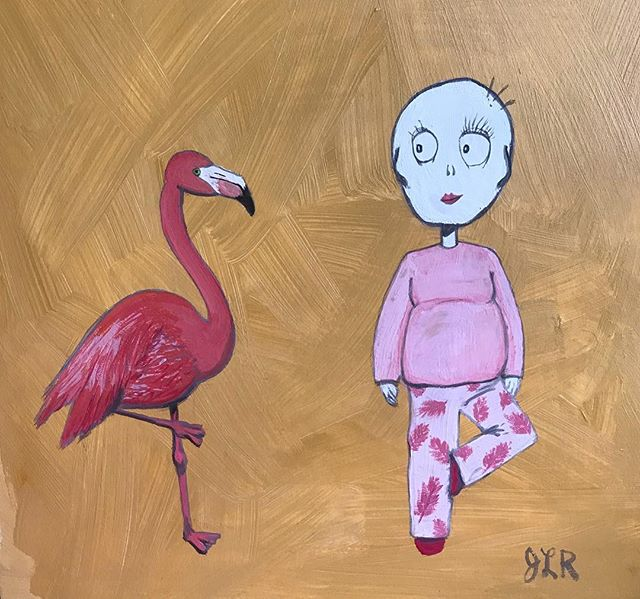 """Love Flamingos"" acrylic and gauche on illustration board. I truly love flamingos, they are the cool"