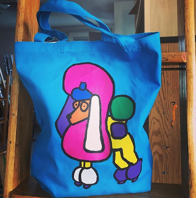 Pop Art Rocky Tote! _#jlr #popart #totebag #multicolor #art #artist #tote #rocky #poodle #saturday #acrylic #diy #fashion #bag