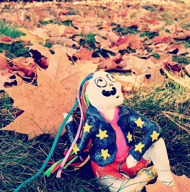 Bo is really loving this fall weather!  #Connecticut #fall #art #foliage #character