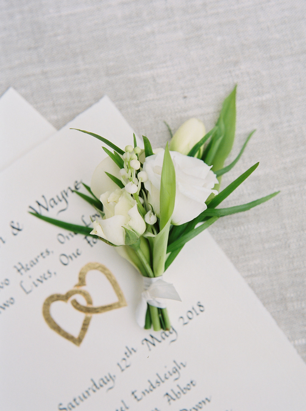 Wedding Buttonhole - Lily of the Valley and Calla Lilly